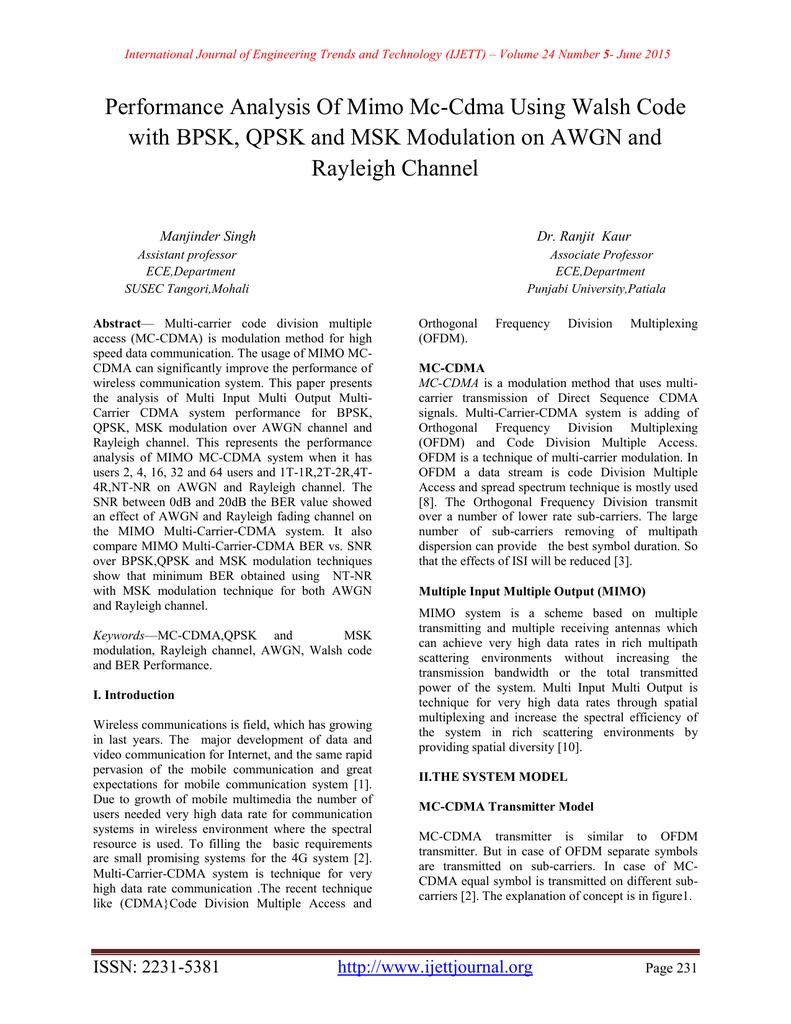Performance Analysis Of Mimo Mc-Cdma Using Walsh Code Rayleigh Channel