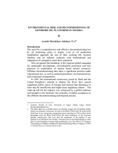 ENVIRONMENTAL RISK AND DECOMMISSIONING OF OFFSHORE OIL PLATFORMS IN NIGERIA