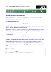 Session 6: Handling inequalities