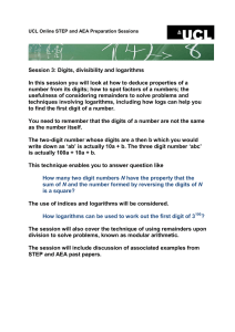 Session 3: Digits, divisibility and logarithms