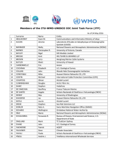 Members of the ITU-WMO-UNESCO IOC Joint Task Force (JTF)