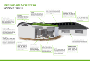 Worcester Zero Carbon House Contents: Summary of Features: Solar Photovoltaic & Water Heating