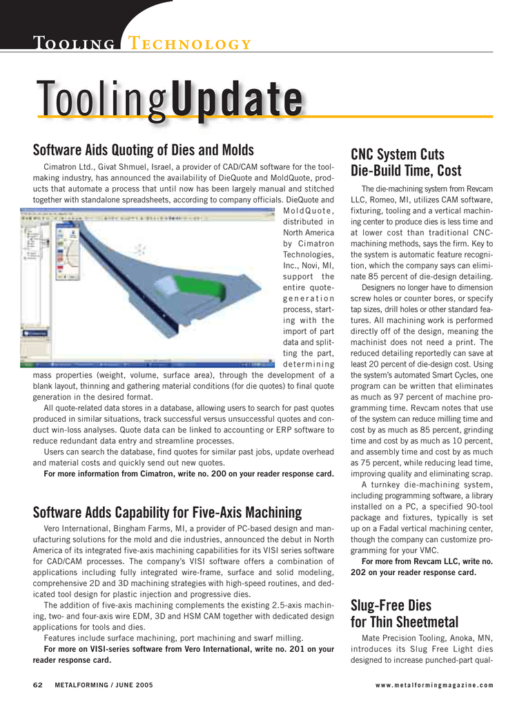 Update Tooling Technology Software Aids Quoting of Dies and