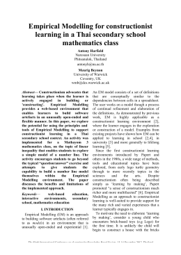 Empirical Modelling for constructionist learning in a Thai secondary school mathematics class