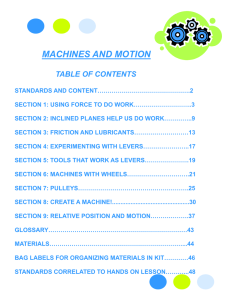 MACHINES AND MOTION TABLE OF CONTENTS