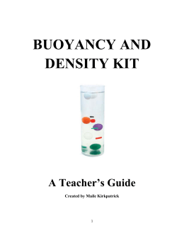 BUOYANCY AND DENSITY KIT A Teacher's Guide