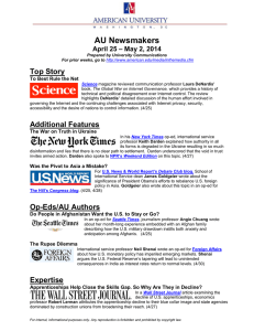 AU Newsmakers Top Story – May 2, 2014 April 25
