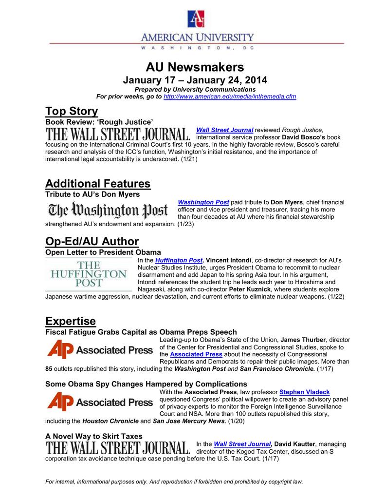 AU Newsmakers Top Story – January 24, 2014 January 17