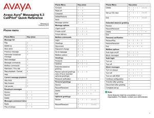 Avaya Aura Messaging 6.3 CallPilot Quick Reference
