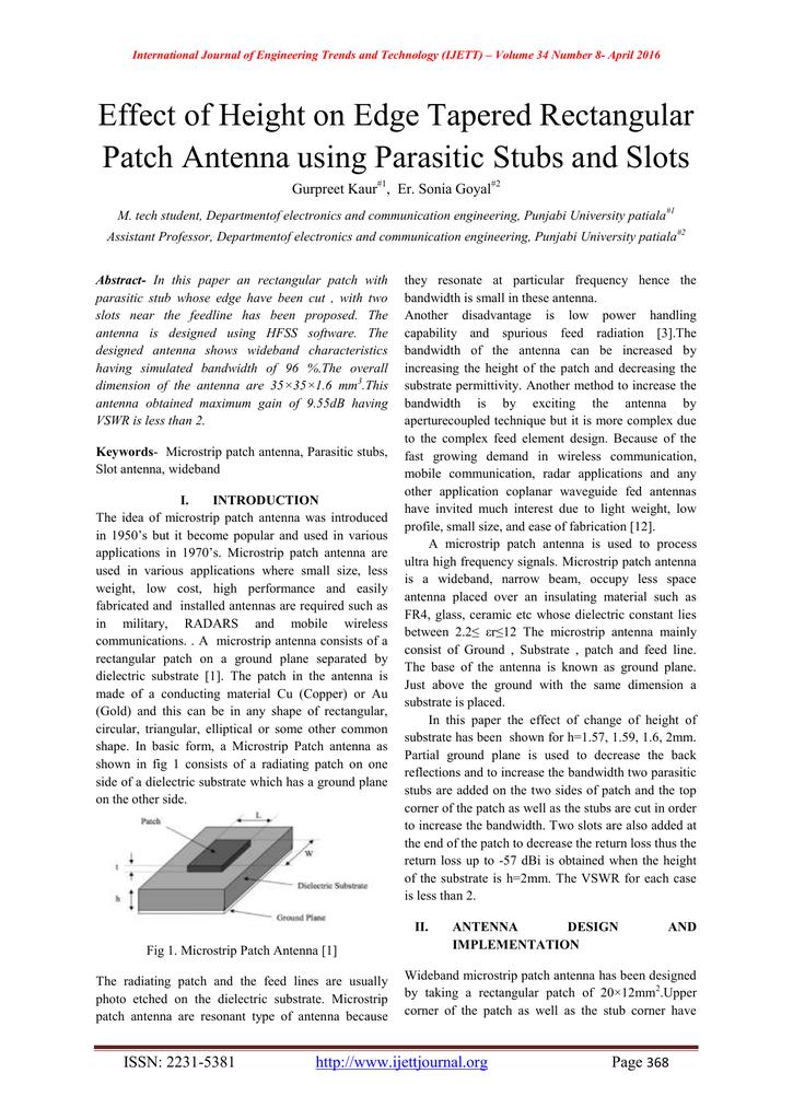 Effect of Height on Edge Tapered Rectangular Gurpreet Kaur