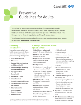 Preventive Guidelines for Adults