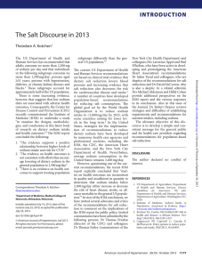 The Salt Discourse in 2013 INTRODUCTION Theodore A. Kotchen