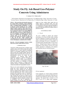 Study On Fly Ash Based Geo-Polymer Concrete Using Admixtures S. Jaydeep