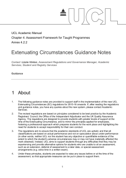 Extenuating Circumstances Guidance Notes 1  About  UCL Academic Manual