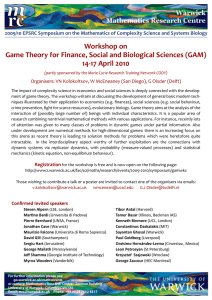 Workshop on Game Theory for Finance, Social and Biological Sciences (GAM)