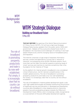 WTPF Strategic Dialogue WTPF Backgrounder Series