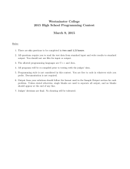 Westminster College 2015 High School Programming Contest March 9, 2015