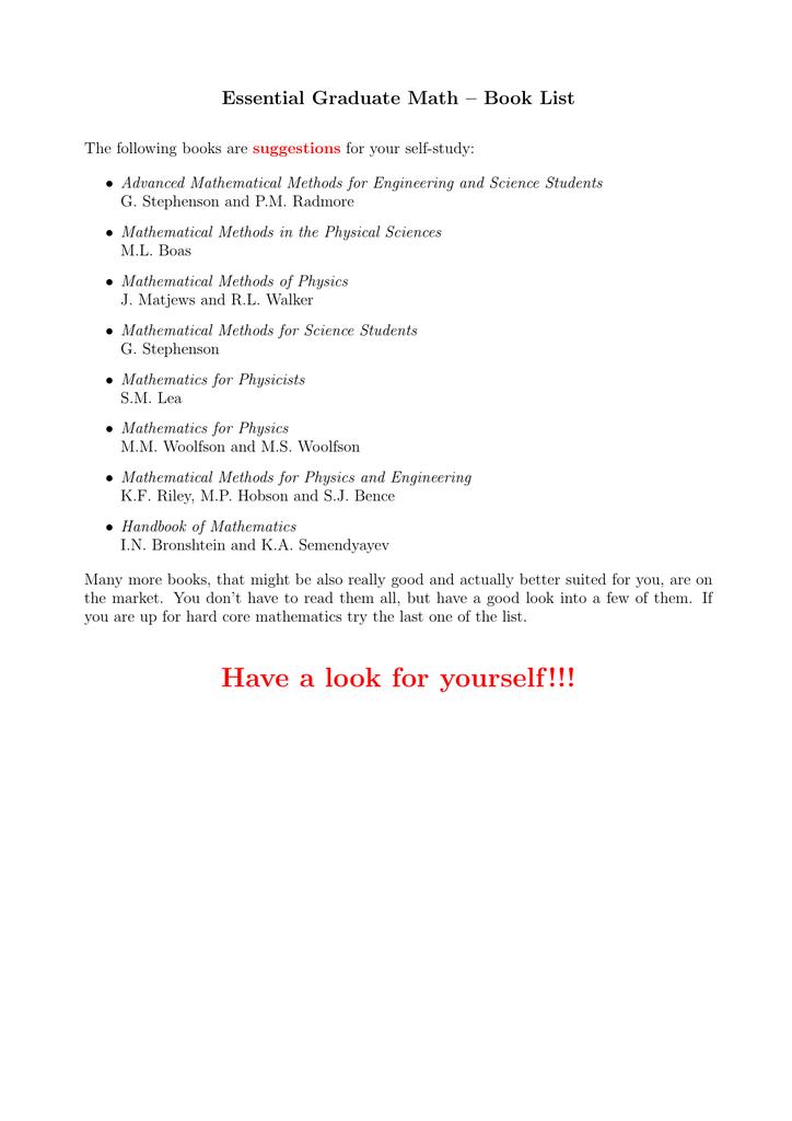 Essential Graduate Math – Book List