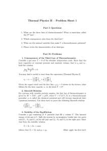 Thermal Physics II – Problem Sheet 1 Part I: Questions