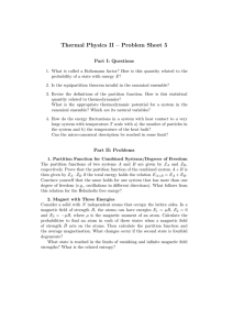 Thermal Physics II – Problem Sheet 5 Part I: Questions