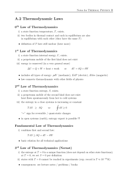 A.2 Thermodynamic Laws 0 Law of Thermodynamics