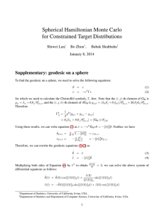 Spherical Hamiltonian Monte Carlo for Constrained Target Distributions Shiwei Lan