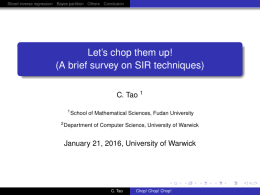 Let's chop them up! (A brief survey on SIR techniques) C. Tao