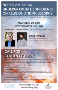NORTH AMERICAN ON RELIGION AND PHILOSOPHY UNDERGRADUATE CONFERENCE