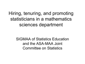Hiring, tenuring, and promoting statisticians in a mathematics sciences department