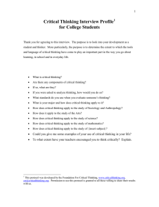 Critical Thinking Interview Profile  for College Students 1