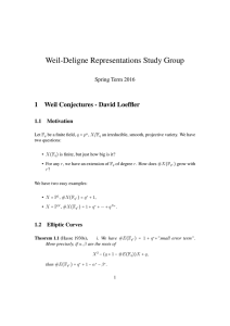 Weil-Deligne Representations Study Group 1 Weil Conjectures - David Loeffler Spring Term 2016