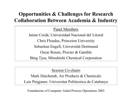 Opportunities & Challenges for Research Collaboration Between Academia & Industry