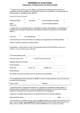 WORKING AT ELECTIONS Expression of Interest form for External Staff