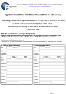 Application for a Certificate of Lawfulness of Proposed Works to...  The Planning (Listed Buildings and Conservation Areas) Act 1990: sections... by section 61 of the Enterprise and Regulatory Reform Act...