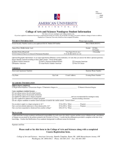 College of Arts and Sciences Nondegree Student Information