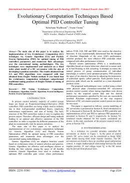 Evolutionary Computation Techniques Based Optimal PID Controller Tuning Sulochana Wadhwani