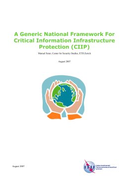 A Generic National Framework For Critical Information Infrastructure Protection (CIIP)