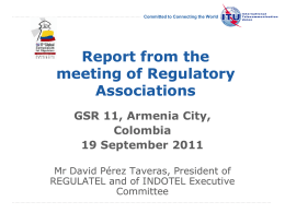 Report from the meeting of Regulatory Associations GSR 11, Armenia City,