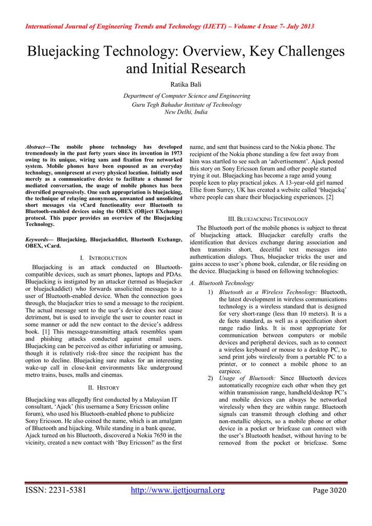 research paper on bluejacking