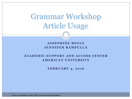 Grammar Workshop Article Usage