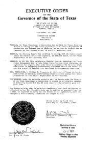ORDER EXECUTIVE Governor of the State of Texas