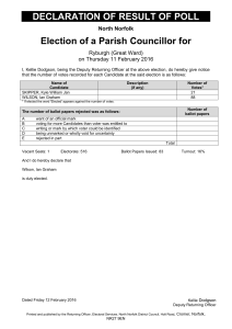 DECLARATION OF RESULT OF POLL Election of a Parish Councillor for