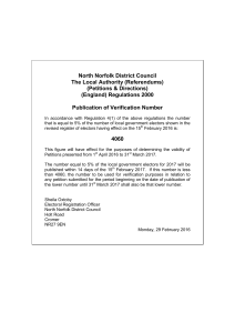 North Norfolk District Council The Local Authority (Referendums) (Petitions & Directions)