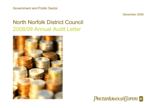  North Norfolk District Council 2008/09 Annual Audit Letter Government and Public Sector