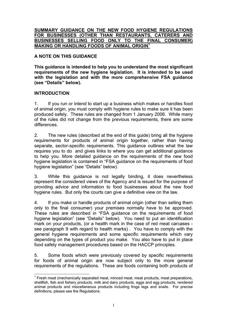 summary guidance on the new food hygiene regulations