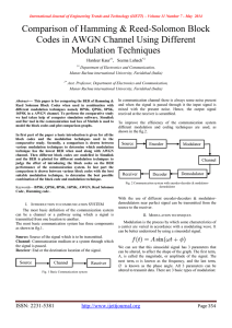 Comparison of Hamming & Reed-Solomon Block Modulation Techniques