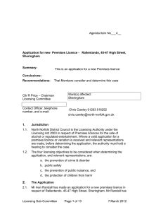 Application for new  Premises Licence -   Rallentando,... Sheringham Summary: