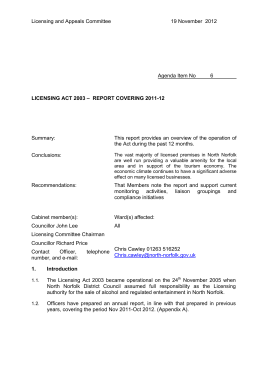 Licensing and Appeals Committee 19 November  2012  Agenda Item No_____6________
