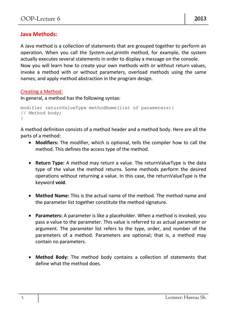 OOP-Lecture 6 2013 Java Methods: