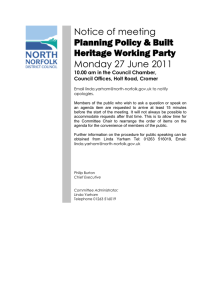 Notice of meeting Planning Policy & Built Heritage Working Party